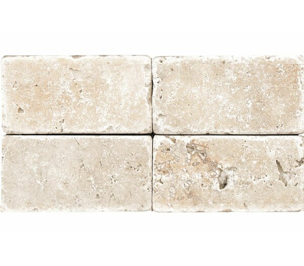 Tumbled 3 x 6 Natural Stone Subway Tile in Ivory by Parvatile