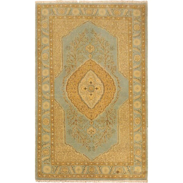 One-of-a-Kind Abagail Turkish Hand-Knotted Wool Light Blue/Gold Area Rug by Isabelline