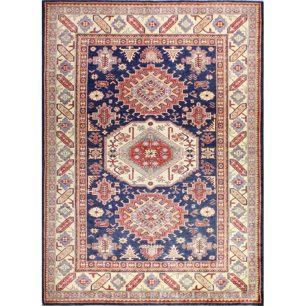 One-of-a-Kind Shealey Hand Woven Wool Beige/Dark Blue Area Rug by Isabelline