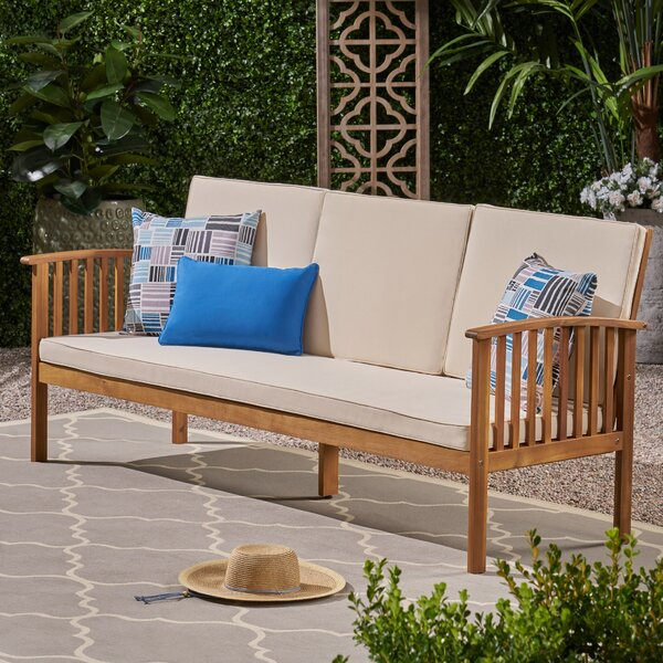 Denice Patio Sofa with Cushions by Highland Dunes