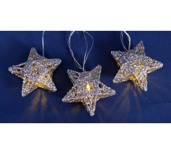 10 Light Battery Operated Sparkling Glittered Star Christmas Light String by Penn Distributing
