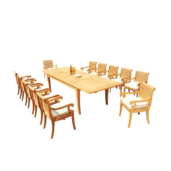 Masson 13 Piece Teak Dining Set by Rosecliff Heights