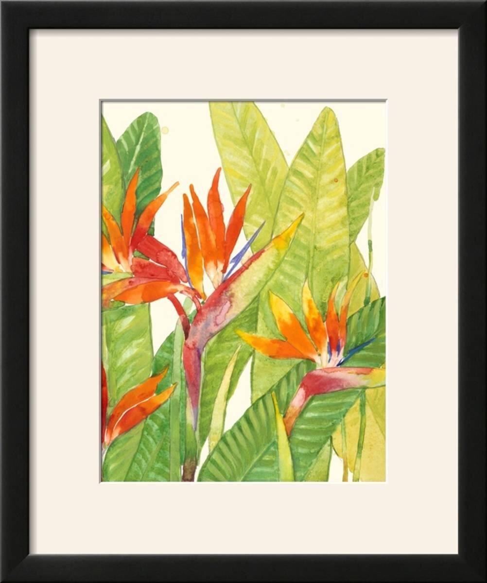 Bay Isle Home \'Watercolor Tropical Flowers IV\' Framed Print | Wayfair