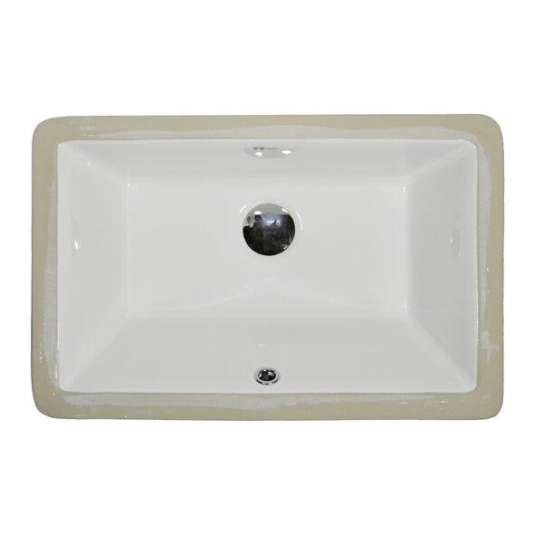 Ceramic Rectangular Undermount Bathroom Sink with Overflow by UCore