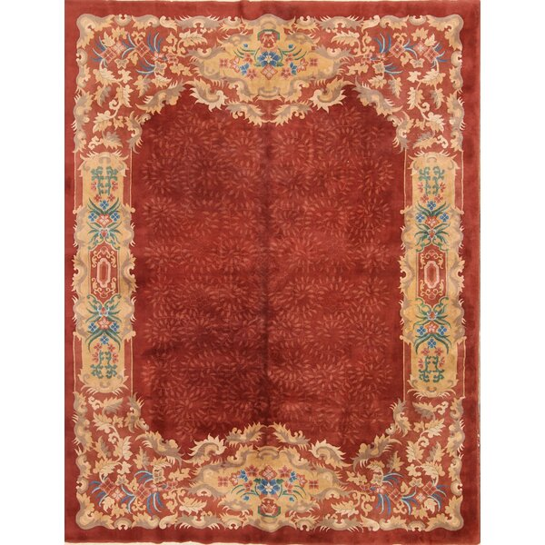 One-of-a-Kind Linnea Nichols Chinese Oriental Hand-Knotted Wool Red/Burgundy Area Rug by World Menagerie