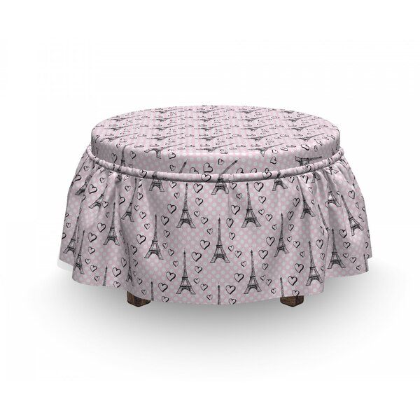 Eiffel Polka Dots Hearts 2 Piece Box Cushion Ottoman Slipcover Set By East Urban Home