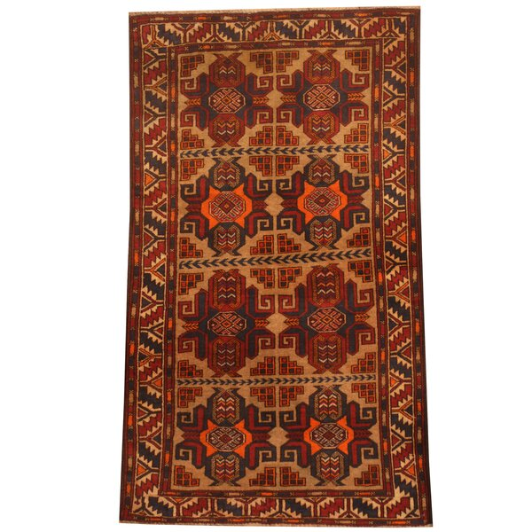 Prentice Hand-Knotted Beige/Red Area Rug by Isabelline
