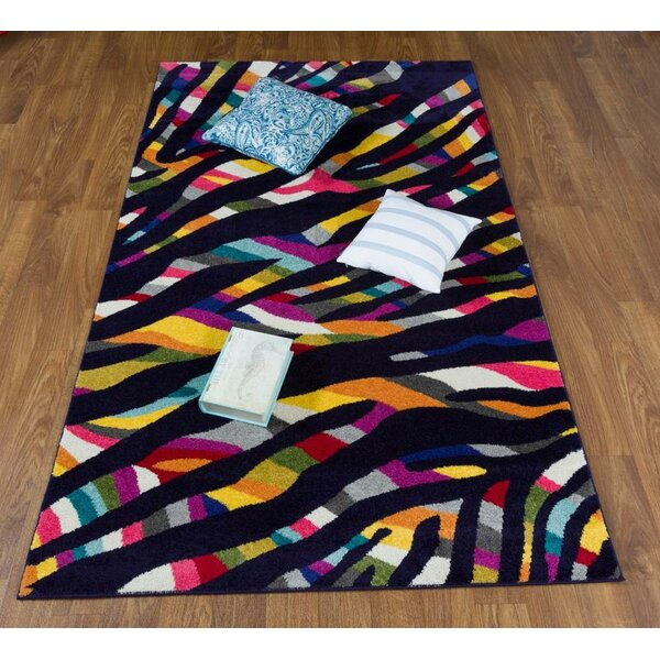 Wason Rainbow Black/Pink Area Rug by Latitude Run