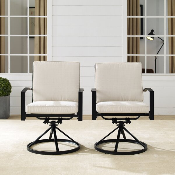 Freitag Swivel Patio Dining Chair With Cushion By Ivy Bronx