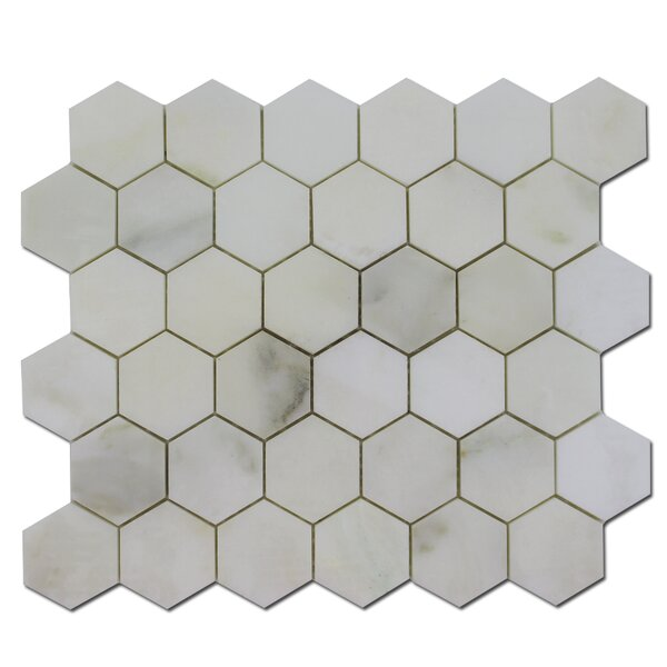 Honeycomb 2 x 2 Marble Mosaic Tile in Calacatta