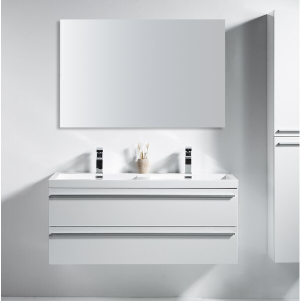 Bolivia 48 Wall-Mounted Double Bathroom Vanity by Foundry Select