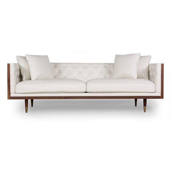 Price Decrease Lancaster Standard Classic Midcentury Leather Sofa New Deals on