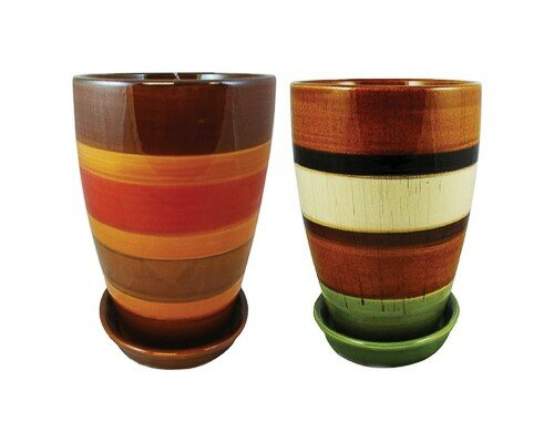 Newman Striped Ceramic Pot Planter (Set of 2) by World Menagerie