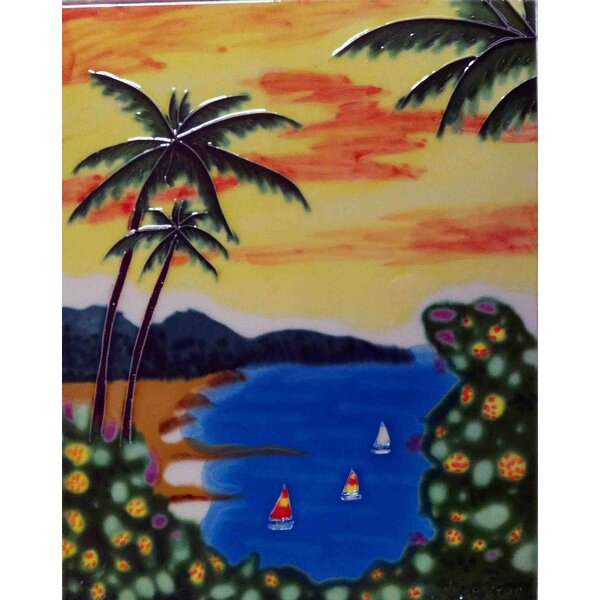 Sunset Beach View Tile Wall Decor by Continental Art Center