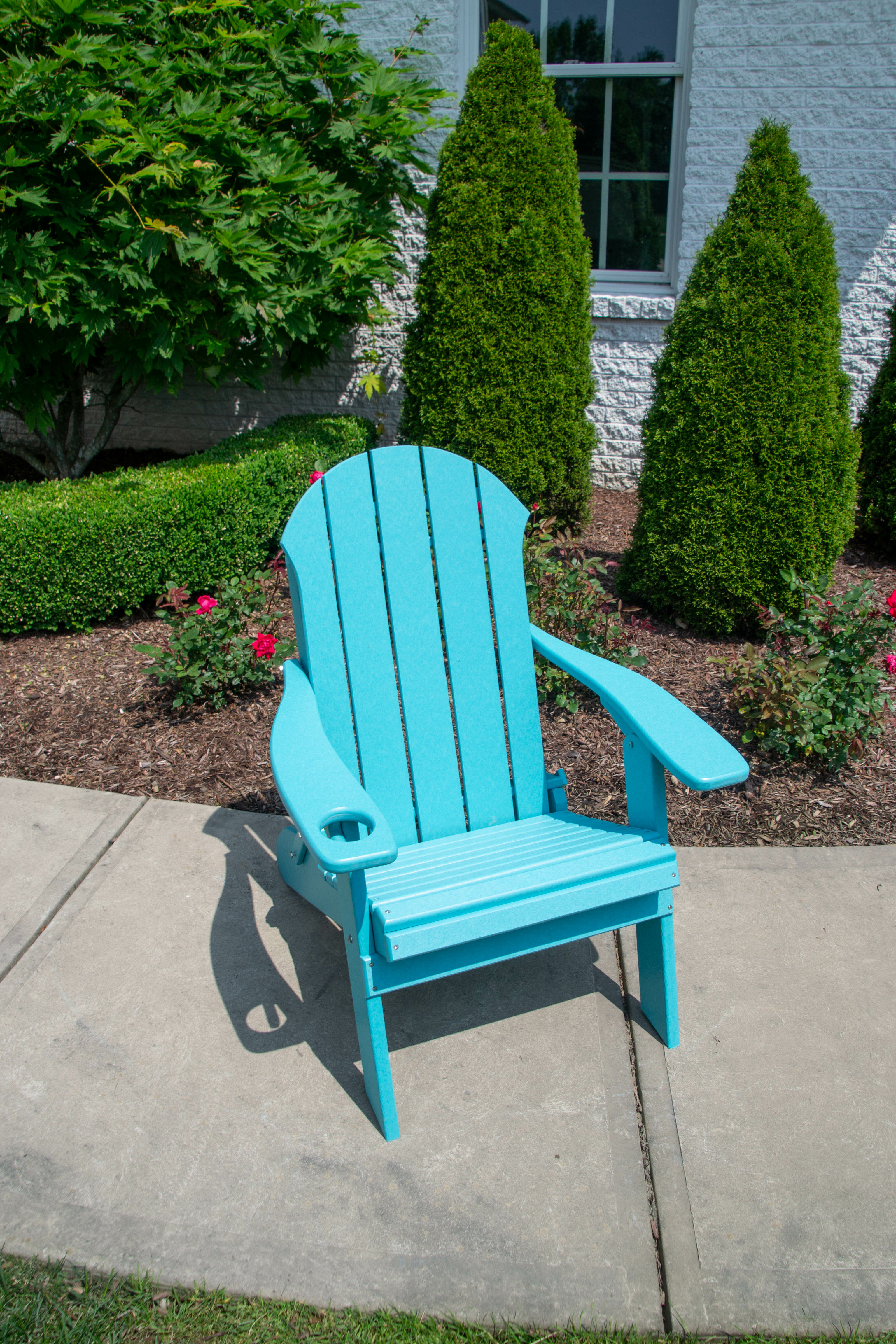 Seaside Plastic Folding Adirondack Chair Without Cup Holder