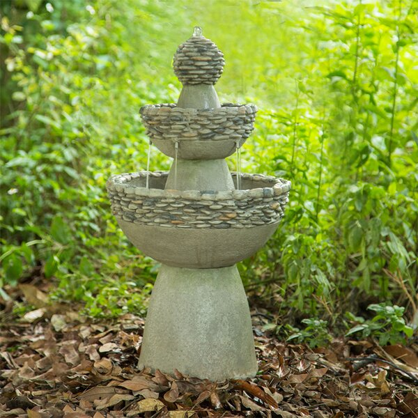 Natural Stone Outdoor Garden Zen 3 Level Fountain by Peaktop