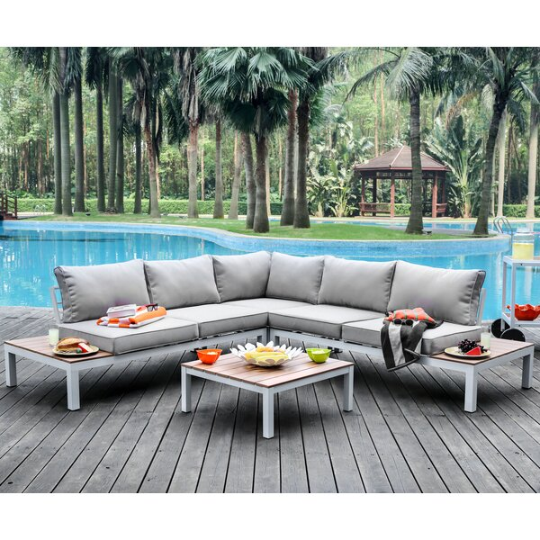 Evelin 2 piece Sectional Seating Group with Cushions by Wade Logan