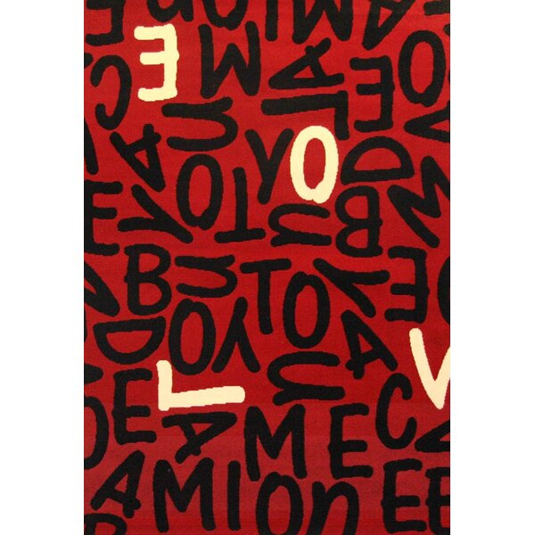 Nola Red/Black Area Rug by Ebern Designs
