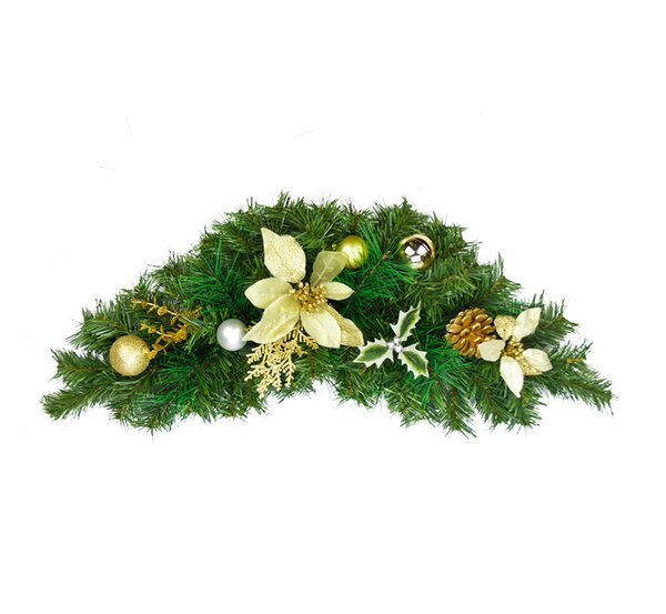 Pre-Decorated Poinsettia, Pine Cone and Ball Artificial Christmas Swag by Northlight Seasonal