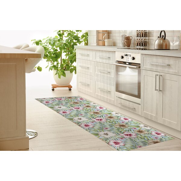 Lisette Tropical Leaves Hibiscus Kitchen Mat