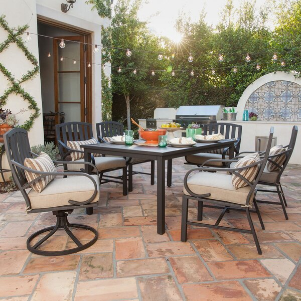 Eubanks 7 Piece Dining Set with Cushion by Alcott Hill