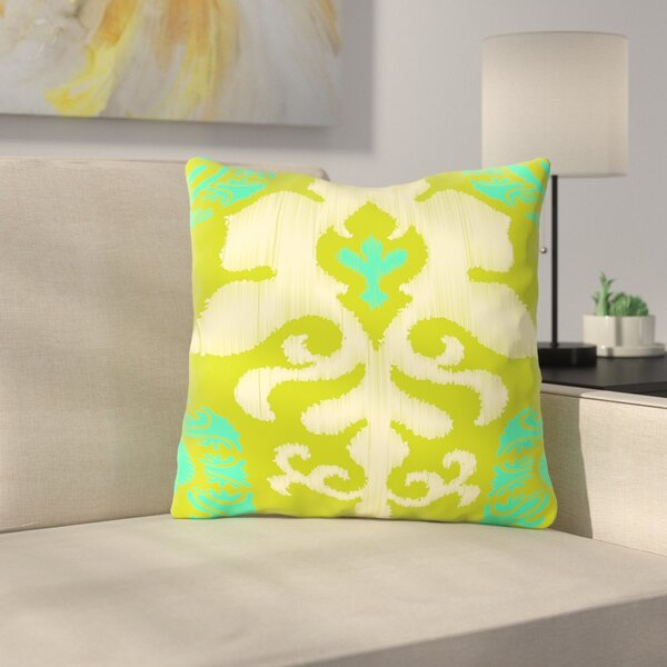 Ikat Teal Throw Pillow by East Urban Home