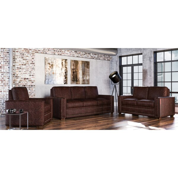 Dallas 3 Piece Leather Living Room Set by Westland and Birch