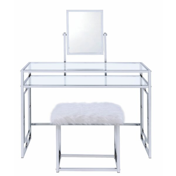 Pullen Vanity Set with Stool and Mirror by Everly Quinn