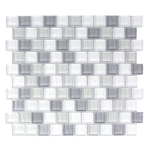 Geo 1 x 1 Glass Mosaic Tile in Blue Gray by Abolos