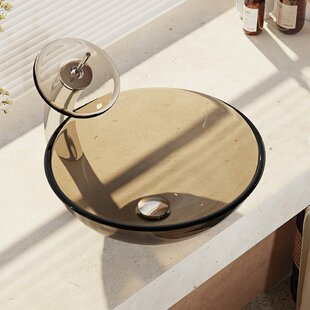 Where buy  Glass Circular Vessel Bathroom Sink with Faucet By René By Elkay