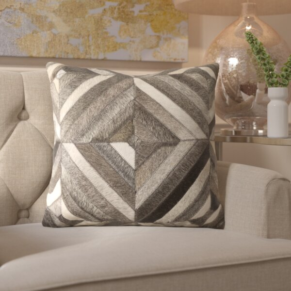 Gertrud Chevron Leather Throw Pillow by Willa Arlo Interiors