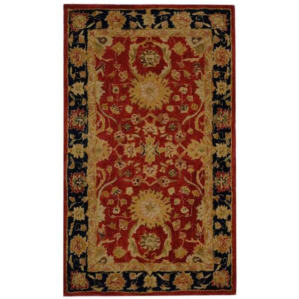 Anatolia Hand-Tufted/Hand-Hooked Red/Navy Area Rug by Safavieh