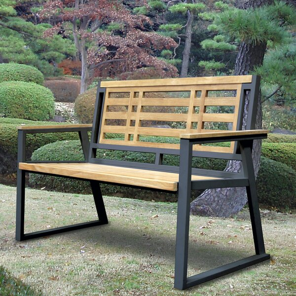 California Room Aegean Teak and Iron Park Bench by Asta Furniture, Inc.