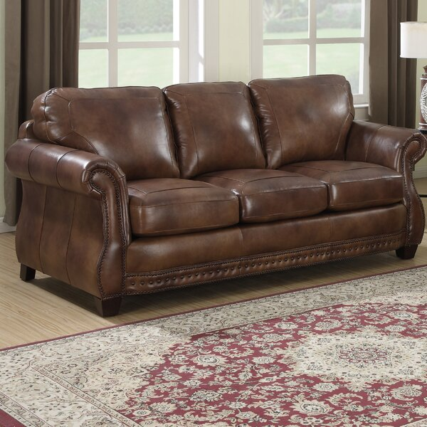 Beglin Cognac Leather Sofa by Darby Home Co