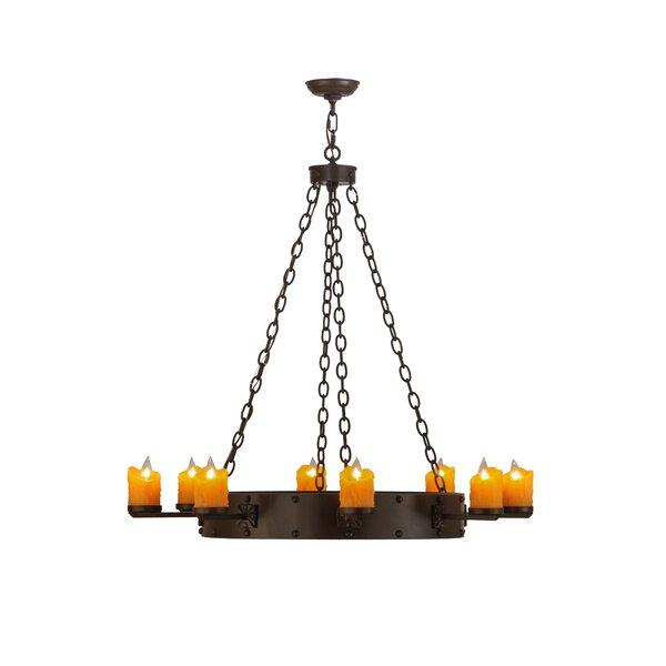 Greenbriar Oak 8-Light Candle Style Wagon Wheel Chandelier by Meyda Tiffany Meyda Tiffany