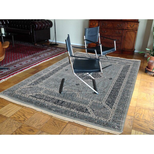 One-of-a-Kind Salzer Tone on Tone Hand-Knotted Blue Area Rug by Astoria Grand