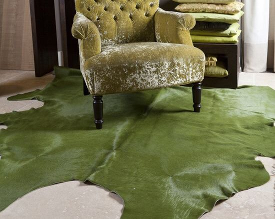 Dyed Brazilian Cowhide Green Area Rug by Pergamino