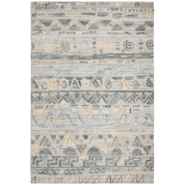 Alcanza Wool Light Blue/Beige Area Rug by Bloomsbury Market