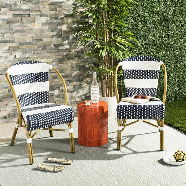 Ouatchia French Stacking Patio Dining Chair (Set of 2) by Bungalow Rose