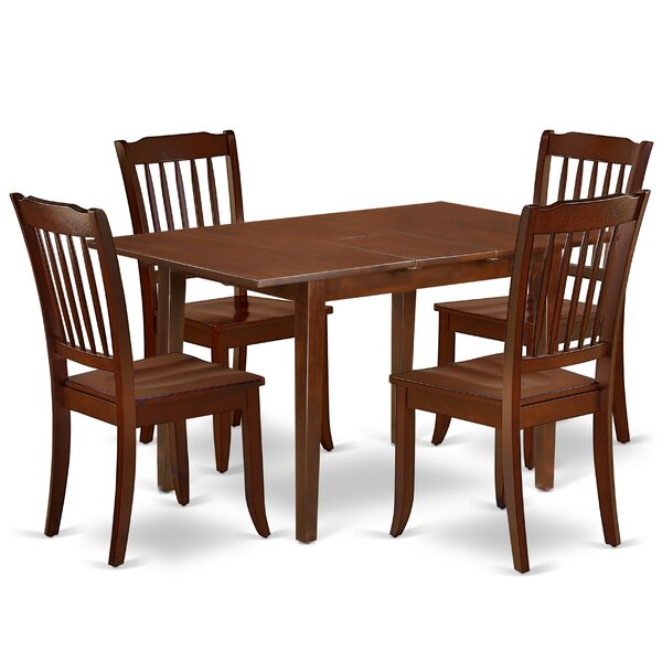 Kolton 5 Piece Extendable Solid Wood Dining Set by August Grove