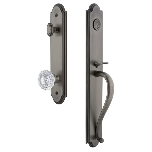 Arc S Grip Single Cylinder Handleset with Versailles Interior Knob by Grandeur