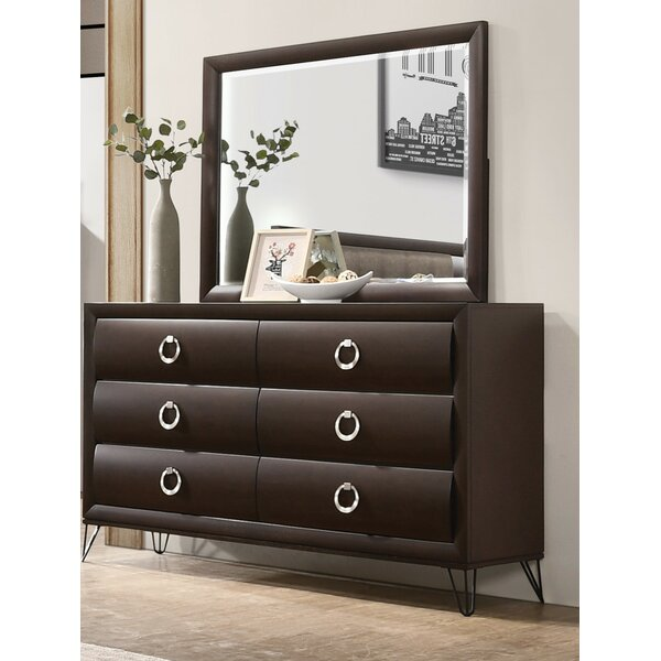 Garrard 6 Drawer Double Dresser With Mirror By Everly Quinn by Everly Quinn New Design