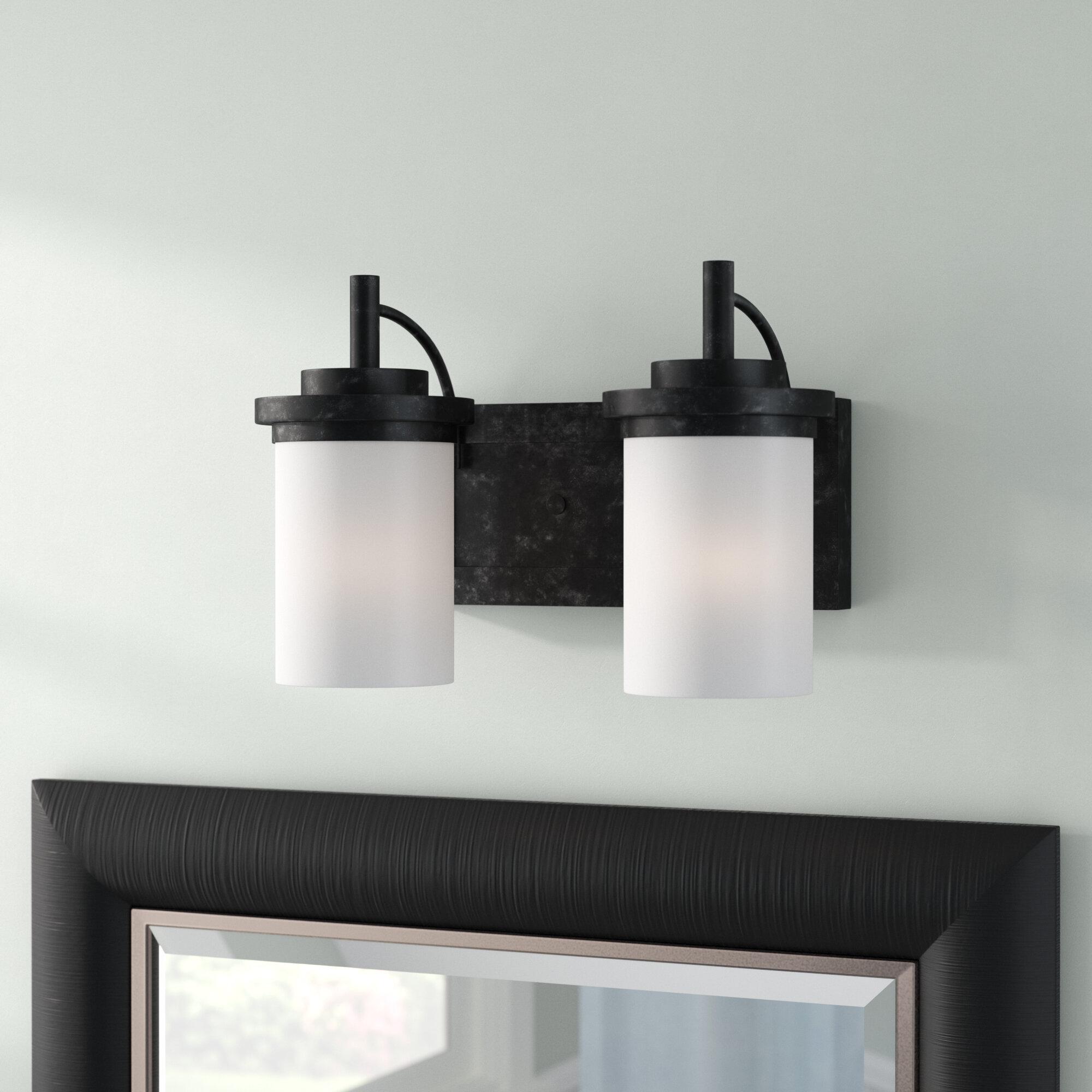 Three Posts Dashiell 2 Light Glass Shade Vanity Light Reviews