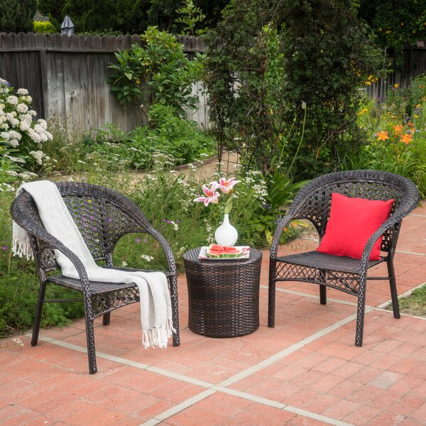 Ukee 3 Piece Rattan Seating Group by Ophelia & Co.