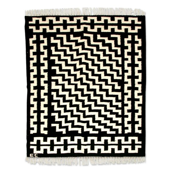 Hand Woven Black/White Area Rug by Novica