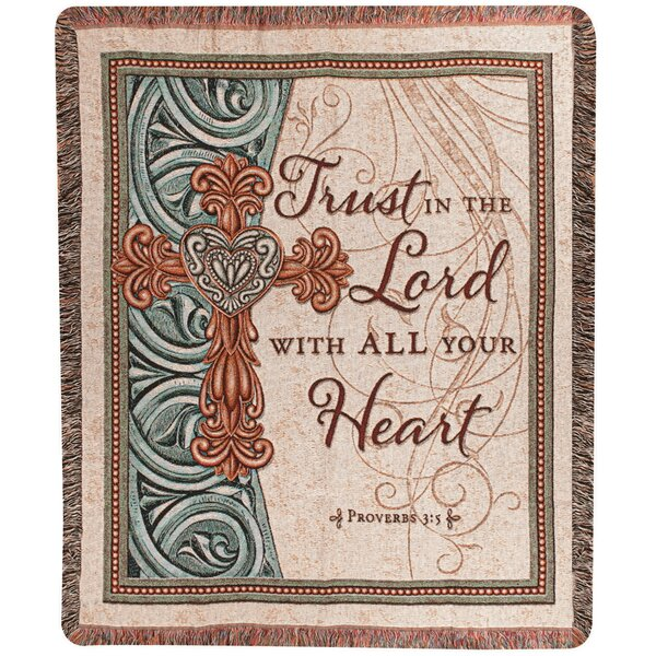 Trust in the Lord Tapestry Cotton Throw by Manual Woodworkers & Weavers