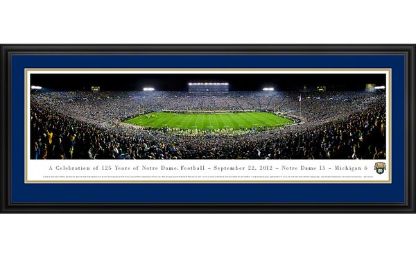 NCAA University of Notre Dame - 125 Night Deluxe Framed Photographic Print by Blakeway Worldwide Panoramas, Inc