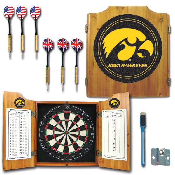 University of Iowa Dart Cabinet in Medium Wood by Trademark Global