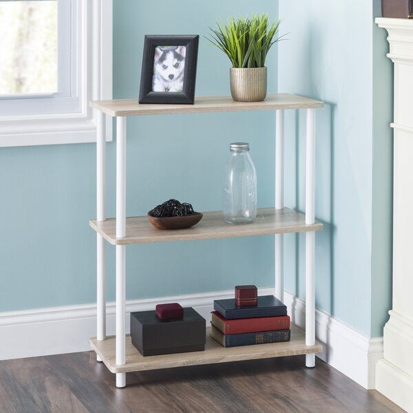 Darin Pine Wood 3 Tier Rectangular Etagere Bookcase by Rebrilliant