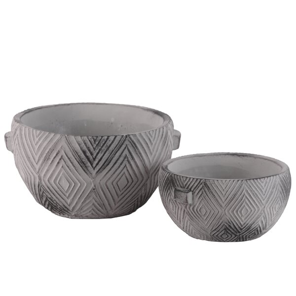 Digiovanni Round Engraved Lattice Diamond Design 4 Piece Cement Pot Planter by Bungalow Rose